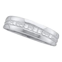Mens Princess Diamond Wedding Band Ring 1 Cttw 14kt White Gold - REF-89M5H