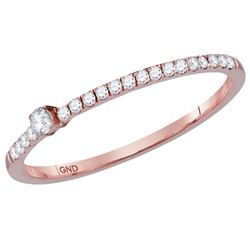 Womens Round Diamond Stackable Band Ring 1/8 Cttw 14kt Rose Gold - REF-13A9M