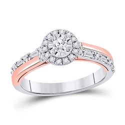Round Diamond Solitaire Bridal Wedding Engagement Ring 1/2 Cttw 10kt Two-tone Gold - REF-45W5K
