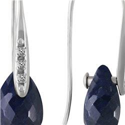 Genuine 8.06 ctw Sapphire & Diamond Earrings 14KT White Gold - REF-60P3H