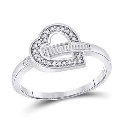 Womens Baguette Diamond Heart Ring 1/6 Cttw 10kt White Gold - REF-8K5Y