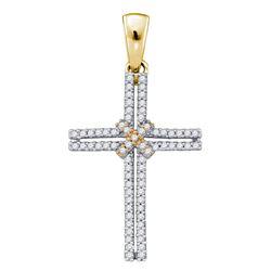 Womens Round Diamond Bound Cross Pendant 1/5 Cttw 10kt Yellow Gold - REF-14Y9N