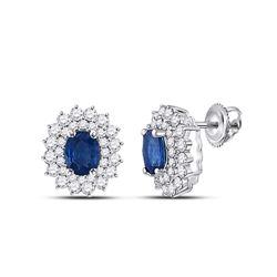Womens Oval Blue Sapphire Diamond Halo Earrings 1-3/8 Cttw 14kt White Gold - REF-65K5Y