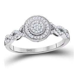 Womens Round Diamond Concentric Milgrain Circle Cluster Ring 1/5 Cttw 10kt White Gold - REF-16M9H