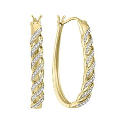 Womens Round Diamond Oblong Hoop Earrings 1/5 Cttw 10kt Yellow Gold - REF-23R9X