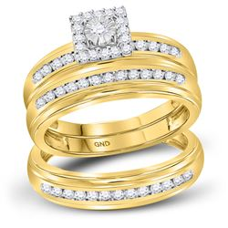 His Hers Round Diamond Solitaire Matching Wedding Set 1/2 Cttw 10kt Yellow Gold - REF-44R5X