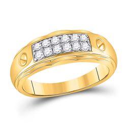 Mens Round Diamond Wedding Band Ring 3/8 Cttw 10kt Yellow Gold - REF-32M5H