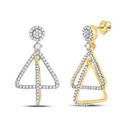 Womens Round Diamond Triangle Dangle Earrings 3/8 Cttw 10kt Yellow Gold - REF-27R9X