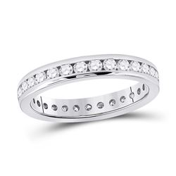 Womens Round Diamond Eternity Wedding Band 1 Cttw 14kt White Gold - REF-85X9A