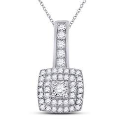 Womens Round Diamond Square Pendant 1/3 Cttw 10kt White Gold - REF-18K5Y