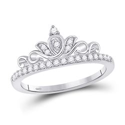 Womens Round Diamond Crown Tiara Band Ring 1/5 Cttw 10kt White Gold - REF-17M5H