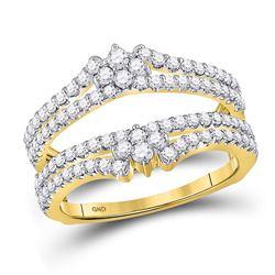Womens Round Diamond Wrap Ring Guard Enhancer 7/8 Cttw 14kt Yellow Gold - REF-63X9A