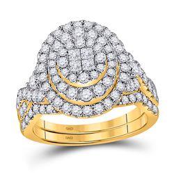 Princess Diamond Bridal Wedding Ring Band Set 1-1/4 Cttw 14kt Yellow Gold - REF-109X5A