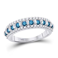 Womens Round Blue Color Enhanced Channel-set Diamond Band Ring 1/2 Cttw 10kt White Gold - REF-21F9W