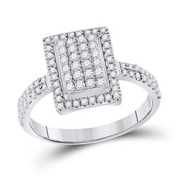 Womens Round Diamond Rectangle Cluster Ring 5/8 Cttw 10kt White Gold - REF-27N9F