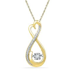 Womens Round Diamond Infinity Moving Twinkle Pendant .03 Cttw 10kt Yellow Gold - REF-12F9W