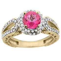 1.50 CTW Pink Topaz & Diamond Ring 14K Yellow Gold - REF-86F9N