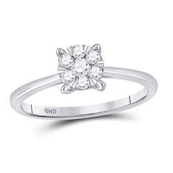 Womens Round Diamond Flower Cluster Ring 1/4 Cttw 10kt White Gold - REF-21Y9N