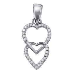 Womens Round Diamond Double Hanging Heart Pendant 1/10 Cttw 10kt White Gold - REF-6H9R