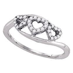Womens Round Diamond Triple Heart Ring 1/5 Cttw 10kt White Gold - REF-15Y5N