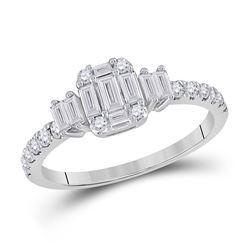 Womens Baguette Diamond Cluster Ring 5/8 Cttw 14kt White Gold - REF-52R9X