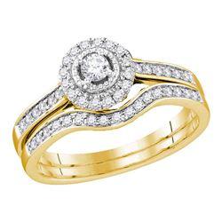 Round Diamond Bridal Wedding Ring Band Set 1/3 Cttw 10kt Yellow Gold - REF-35W5K