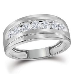 Mens Round Diamond Wedding Channel-Set Band Ring 3/4 Cttw 10kt White Gold - REF-56X5A