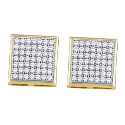 Womens Round Diamond Square Cluster Earrings 1/3 Cttw 10kt Yellow Gold - REF-17M5H
