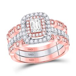 Emerald Diamond 3-Piece Bridal Wedding Ring Band Set 7/8 Cttw 14kt Two-tone Gold - REF-115F9W