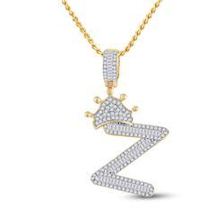 Mens Baguette Diamond Crown Z Letter Charm Pendant 3/4 Cttw 10kt Yellow Gold - REF-30A5M