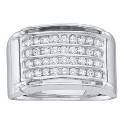 Mens Round Diamond 4-Row Band Ring 1/2 Cttw 10kt White Gold - REF-37F9W