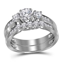 Round Diamond 3-Stone Bridal Wedding Ring Band Set 1 Cttw 14kt White Gold - REF-127X9A