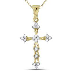 Womens Round Diamond Flared Cross Pendant 1/5 Cttw 10kt Yellow Gold - REF-12N9F
