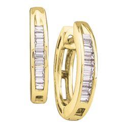 Womens Baguette Diamond Huggie Hoop Earrings 1/6 Cttw 14kt Yellow Gold - REF-12X9A