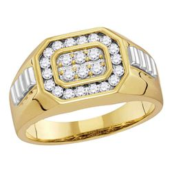 Mens Round Diamond Octagon Frame Cluster Ribbed Ring 1/2 Cttw 14kt Yellow Two-tone Gold - REF-51X9A