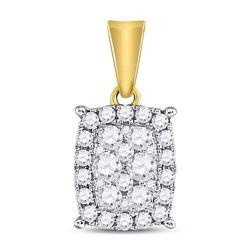 Womens Round Diamond Rectangular Cluster Pendant 1/2 Cttw 14kt Yellow Gold - REF-30W9K