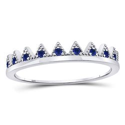Womens Round Blue Sapphire Chevron Stackable Band Ring 1/10 Cttw 10kt White Gold - REF-9R5X