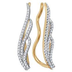 Womens Round Diamond Climber Earrings 1/4 Cttw 10kt Yellow Gold - REF-16A9M
