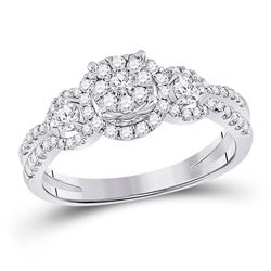 Round Diamond 3-stone Bridal Wedding Engagement Ring 5/8 Cttw 14kt White Gold - REF-54F5W