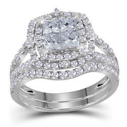 Princess Diamond Bridal Wedding Ring Band Set 1-1/2 Cttw 14kt White Gold - REF-98K5Y