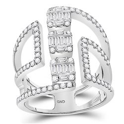 Womens Baguette Round Diamond Negative Space Band Ring 7/8 Cttw 14kt White Gold - REF-87X5A