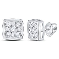 Womens Round Diamond Square Cluster Stud Earrings 1/2 Cttw 14kt White Gold - REF-32Y5N