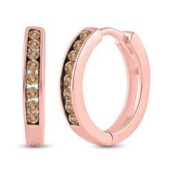 Womens Round Brown Diamond Hoop Earrings 1/4 Cttw 14kt Rose Gold - REF-16X9A