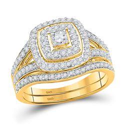 Round Diamond Bridal Wedding Ring Band Set 5/8 Cttw 10kt Yellow Gold - REF-54X5A