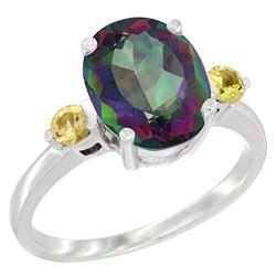 2.64 CTW Mystic Topaz & Yellow Sapphire Ring 10K White Gold - REF-24V5R