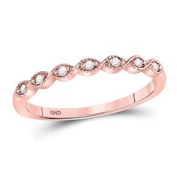 Womens Round Diamond Stackable Band Ring 1/20 Cttw 14kt Rose Gold - REF-12M9H