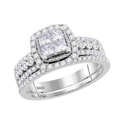 Princess Diamond Halo Bridal Wedding Ring Band Set 1 Cttw 14kt White Gold - REF-71A9M