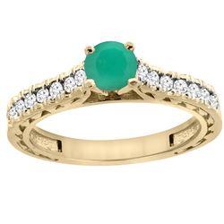 0.81 CTW Emerald & Diamond Ring 14K Yellow Gold - REF-63W5F