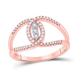 Womens Round Diamond Fashion 3-stone Ring 1/5 Cttw 14kt Rose Gold - REF-21H9R