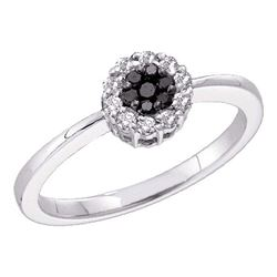 Womens Round Black Color Enhanced Diamond Cluster Ring 1/4 Cttw 14kt White Gold - REF-21Y9N